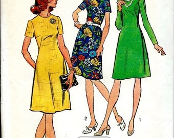1970's A-Line Dress , Jiffy Sewing Pattern , Simplicity No. 5676 , Beginners Sewing Pattern Bust 40 UNCUT