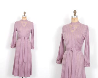 Vintage 1970s Dress / 70s Open Weave Crochet Sweater Dress / Purple ( S M )