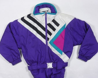 Vintage 80's TYROLIA aztec COLOR BLOCK Ski Suit snow jacket size Girls Size 14