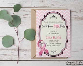 Breast Cancer Charity Invitation, Pink Ribbon Fundraiser, Raise Awareness Invitation, Breast Cancer Pink