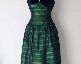 Vintage Black and Gold Taffeta Tea Length Dress