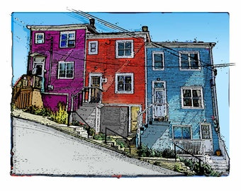 Whimsical Creative Art of Houses in St. John's, Newfoundland .....Colorful Unique Urban City Houses on a Steep Hill in Newfoundland