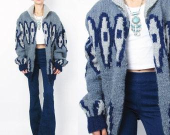 Vintage Cowichan Cardigan Mens Hand Knit Cowichan Sweater 60s 70s Chunky Knit Geometric Canadian Sweater Blue Gray Zip Up Cardigan (L) E25