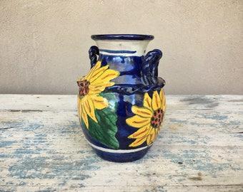 Vintage Mexican Talavera pottery urn, Mexican pottery vase, ceramic vase, kitchen decor, folk art pottery, Spanish decor, sunflower decor