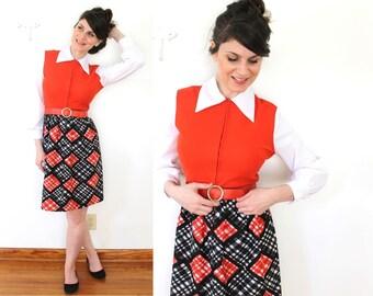 1960s 1970s Mod Black Red and White Dress / 60s Plaid Dress