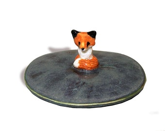 Put a lid on it! blue Mug or cup lid hand crafted ceramic coffee / tea ooak red fox figurine by Anita Reay AnitaReayArt gifts for fox lovers