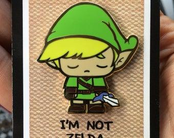 Super Emo Wink | FREE US SHIPPING | Hard Enamel Pin | I'm Not Zelda | Gold Enamel | Lapel Pin | Legend of Zelda | Parody | Gold