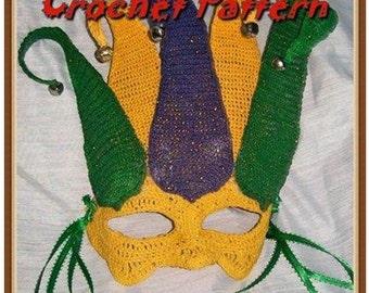 Court Jester Mardi Gras Mask Crochet Pattern PDF - INSTANT DOWNLOAD.