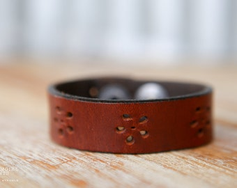 CUSTOM HANDSTAMPED CUFF - bracelet - personalized by Farmgirl Paints - brown leather cuff with flower cutouts