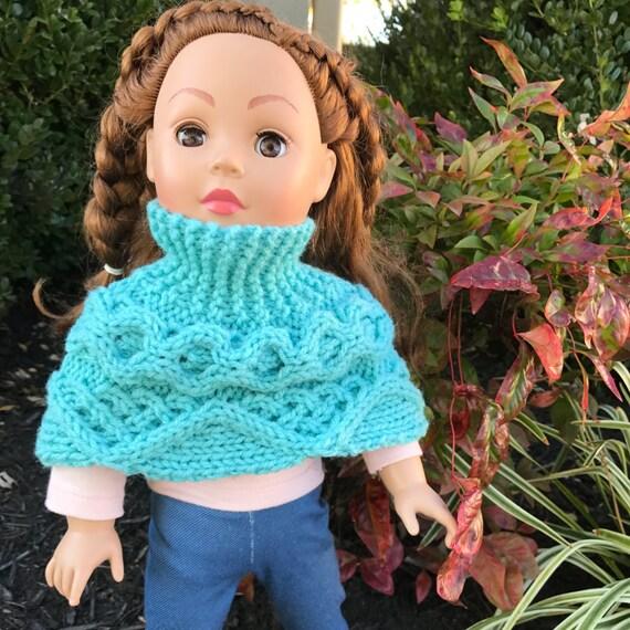 Knitting Pattern Doll Poncho : DIGITAL Download, Doll Cowl, 18 inch Doll Sweater, Doll ...