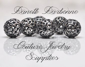 10 mm Antiqued Sterling Silver Lattice Celtic Filigree Beads 1 Piece