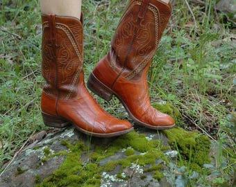Womens Size 10D Vintage Eelskin Cowboy Boots... Eel Skin Cowboy Boots