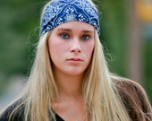 Navy Bandana Print Headband Stretchy Headwrap Running Head Wrap Sports Headband Blue Bandanna Headscarves (#1029) S M L X