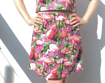 purple flamingoes printed cotton mini skirt with neon yellow bows size S-M UK 8-10-12 o.o.a.k original handmade in the UK