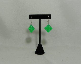 Traslucent green d8 dice earrings
