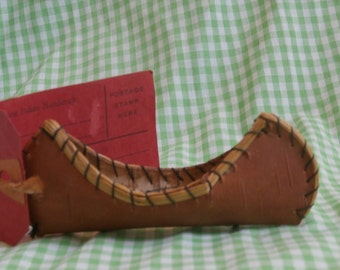 Vintage Birch Bark Canoe, Mailable Toy Souvenir, Miniature Native American Indian Boat with Label