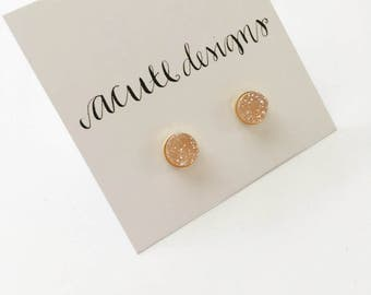 Sparkling Champagne Natural Druzy Stud Earrings - Gold, Rose Gold,  or Sterling Silver