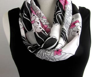 Black and White Floral Infinity Scarf - Pink Flower Loop Scarves - Modern Scarf for Work - Hand Made in Australia