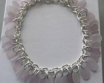 Seaglass Bracelet Chain Jewelry, Sea Glass Bracelet, Gift for Her, Beach Glass Jewelry, Purple Sea Glass Bracelet, Beach Jewelry