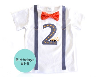 Construction Birthday Shirt. 2nd Birthday or 1st Birthday Boy Outfit. Backhoe Digger Truck Shirt. Road. Birthday Outfit. 3rd 4th 5th