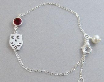 Ruby Moon,Ruby Jewlery,Ruby Bracelet,Ruby Jewelry,Bracelet,Bridesmaid,Sterling Silver,Owl,Silver Bracelet,Pearl,Wedding.valleygirldesigns