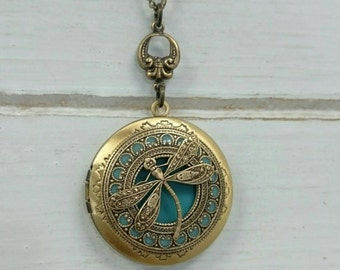 Tiffany Dragonfly Locket Necklace - antique brass locket.
