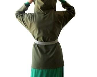 SALE Womens wrap jacket, Jacket for women, Dark olive green jacket, Hoodie jacket, US 12-14 jacket, Womens jacket size L (large)