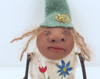 Folk Art Doll Ornament holiday christmas coth clay miniature doll #60