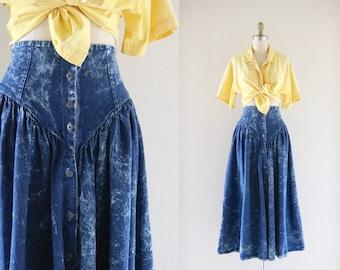acid wash denim midi prairie skirt