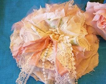 Sale/Shabby Chic Flower/ Fabric Flower Pin/ Flower Hair Clip/ Wedding Flower/ Flower Broch Pin