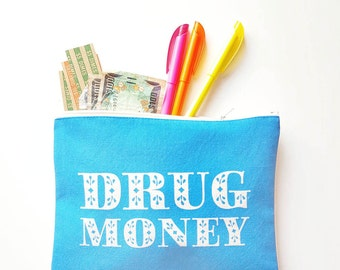 Drug Money Funny Bunny Clutch Screenprint Zipper Smartphone Purse Festival Funky Psychedelic Accessories Made in Nashville Wholesale