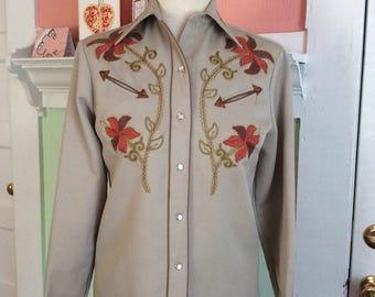 1960s 1950s Western H Bar C Cowboy cowgirl shirt Medium