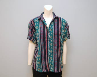 Vintage Southwestern Women's Button Up Blouse Short Sleeve Shirt - Size Medium - Cowgirl Top with Shoulder Pads - Turquoise Collared Shirt