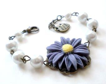 Sunflower Jewelry Denim Blue Bracelet Flower Bracelet Flower Girl Jewelry Blue Wedding Jewelry Sunflower Bracelet Spring Wedding Jewelry
