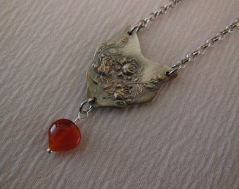 Carnelian and Roses  Antique Fork Necklace