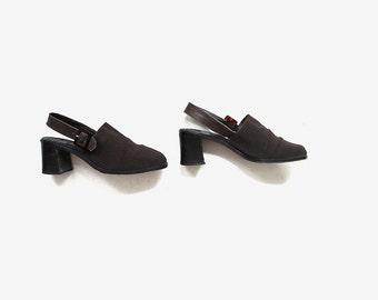 Vintage Brown Mules 6.5 / Slingback Mules / Chunk Heel Mules / Minimal Shoes / Slingback Heels