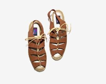 Vintage Leather Sandals 8.5 / Brown Leather Sandals / Lace Up Sandals / Cage Sandals / Oxford Sandals / Leather Espadrilles
