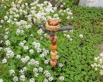 Garden/Plant Decoration - Ceramic Mini Stake with 10 Handmade Beads - Hand-Sculpted Bird on Real Branch  - Window-Box Decor - Hostess Gift