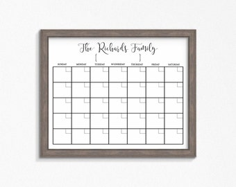 Dry Erase Calendar Printable-Chalkboard Dry Erase-Cutomizable Mulitple Sizes available-Digital File