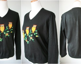 70s OWL sweater - black V neck - three owls on a branch - made by Ades - size L XL