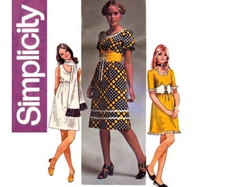 Simplicity 9181 Womens Junior Petite Puff Sleeved Dress Scarf & Belt 70s Vintage Sewing Pattern Size 11 JP Bust 34 inches UNCUT Factory Fold