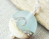 Small Beach Wave Necklace, Sea Glass Lampwork Pendant, Ocean Jewelry, Beach Jewelry, Gift for Her, Beach Wedding, Gifts, Christmas Gift