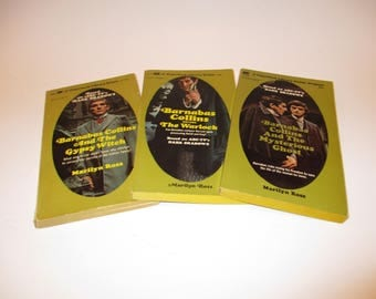 3 Dark Shadows Novels by Marilyn Ross, Barnabas Collins VS The Warlock, Gypsy Witch and The Mysterious Ghost, Instant Collection