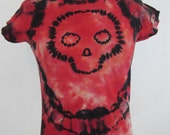 Skull Tie Dye Red and Black Woman's Medium