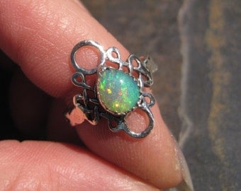 Ethiopian Opal Sterling Silver Ring - Size 6 - Celtic Filigree Scroll Solitaire