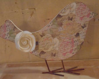 Altered Cottage Chic Decoupaged Wooden Bird