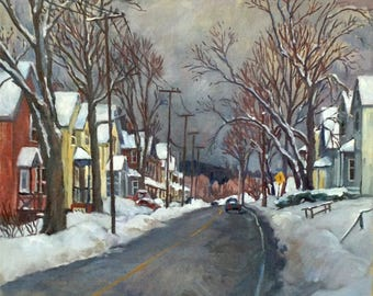 After the Storm. 20x20 Realist Oil on Canvas, Snow Scene, Large Impressionist Winter Landscape Painting, Signed Original Fine Art