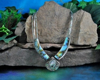 Abalone Drop Necklace // Handmade Thick Padded Shell Slabs on Strands of Iridescent Seed & Sterling Tube Beads // Artisan Signed Masterpiece