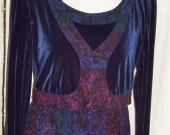 Womens Vintage Carole Little Size 6 Purple Rayon & Velvet Maxi Dress attached Jacket Artsy Boho