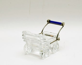 Vintage Italian Crystal Baby Carriage by Kristal Color Italy / 24% Lead / Baby Buggy / Carriage / Stroller